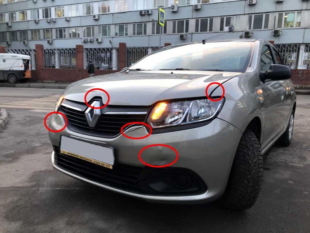 Внешний вид автомашины Renault Logan до кузовного ремонта и покраски