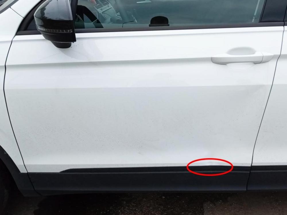 Внешний вид водительской двери Volkswagen Tiguan до ремонта